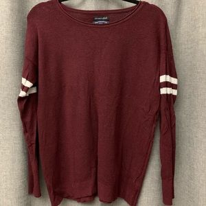 American Eagle Maroon Sweater with Stripe